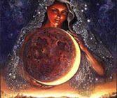 donna connessa al ciclo e alla luna